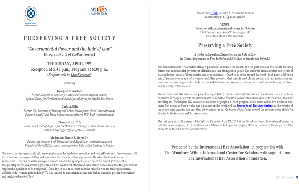 Watch Now: Preserving a Free Society: Governmental Power and the Rule of Law